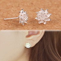 2015 Cute Women's 925 Sliver Lotus Flower Ear Stud Earrings Jewellery (With Thanksgiving&Christmas Gift Box) = 1705948612