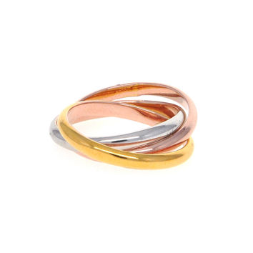 Dear Deer Gold Plated 3 Colors Linked Band Rings