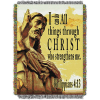 Spiritual (Strengthens Me) Woven Tapestry Throw (48inx60in)