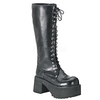 Ranger 302 Black 3.5 Platform Goth Military Knee Boot US Men's Size 4-13