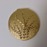 Stratton Loose Powder Compact, Vintage Gold Tone English Pussy Willow Compact, Collectible Ladies Cosmetic Accessory, Vintage Beauty, Makeup