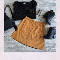 Suede Switch Skirt- Camel