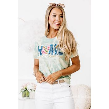 Home Sweet Home Floral & Tie Dye Graphic Tee