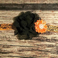 Black Chiffon and Orange Satin Pearl Halloween Headband / Baby Headband / Toddler Headband / Infant Headband / Baby Bows / Girls Hair Bows