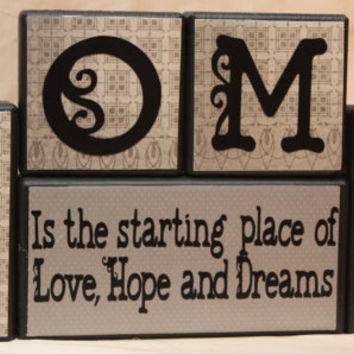 Home is the starting place of love, hope and dreams saying wood blocks decor