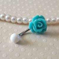 Rose Turquoise Green Belly Ring 14ga Navel Ring Stainless Steel Body Jewelry