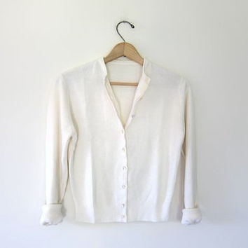 vintage cashmere sweater. white cardigan sweater. button up sweater. cropped cardigan. preppy simple cream minimalist sweater. XS Small