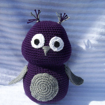 Crochet Owl Stuffed Animal in Purple and Grey, Owl Nursery Decor