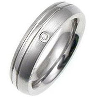 Classic Cubic Zirconia Stainless Steel Ring, size : 08