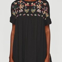 Black Embroidery Floral Open Back Mini Dress