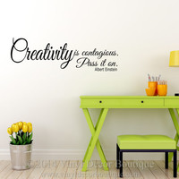 Creativity Is Contagious Albert Einstein Wall art, wall decal, wall quote, vinyl lettering, vinyl wall quote Creativity is Contagious