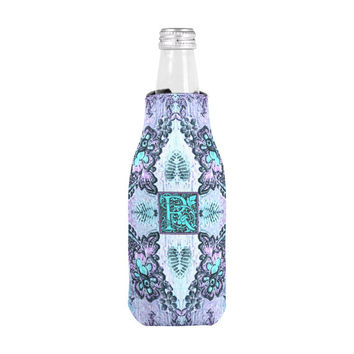 Bottle Coozie, monogram coozie, personalized coozie, bottle cover, drink cooler, bottle cozy, bridesmaid gifts, bohemian coozie, purple cozy