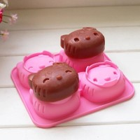 Silicone Soap Molds Animal Cat Shape Hand Made Ice Cream Mold Silicone Cake Mold 4 Set Of Hello Kitty Cartoon Cat Pudding Mold