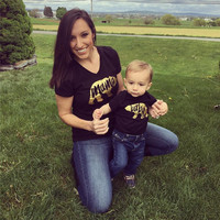 Mama Baby Bear Family Matching T-shirt  Bodysuits Gold Letter Clothes T-Shirts Tops Outfits Sets Clothes