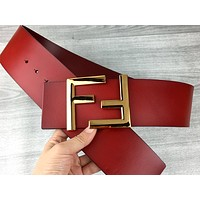 Fendi tide brand female models simple classic letter buckle belt red