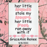 Personalized 5x7 Glossy Print Her Little Hands Matted to 8x10 Realtree Theme AP Pink Camo Baby Girl Shower Nursery Newborn Infant Gift Decor