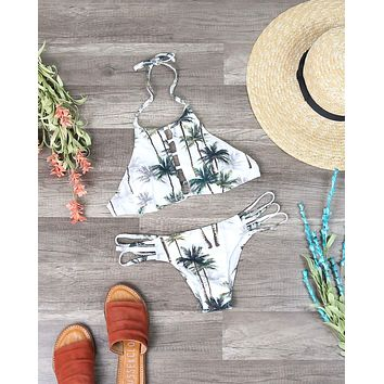 Venice High Neck Crop Bikini Set in Tropical Palm Tree Print