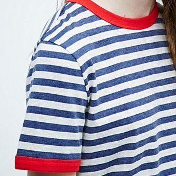 Cooperative Stripe Ringer Tee in Ivory - Urban Outfitters