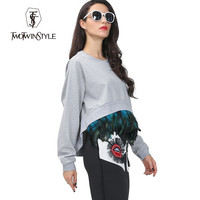 [TWOTWINSTYLE] 2016 autumn attachable feather long sleeves oversized sweatershirt women pullovers new tops streetwear