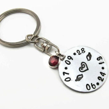 Personalized Key Chain  -  Memorial Key Chain - Hand Stamped - Birth and Death Date - Commemorative Gift - In Memory Of - Remembrance Gift