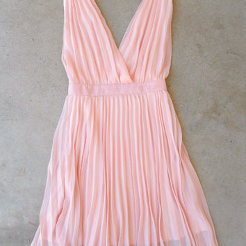 Pleated Pink Party Dress [6375] - $36.00 : Vintage Inspired Clothing & Affordable Dresses, deloom | Modern. Vintage. Crafted.