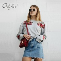 Ordifree 2017 Autumn Winter Women Hoodie Sweatshirt Rose Floral Embroidery Pullover Grey Flower Embroidered Hoodies