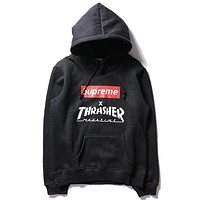Supreme & Thrasher Autumn And Winter Fashion New Letter Print Women Men Hooded  Long Sleeve Top Sweater Black