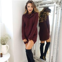 Wine Red Sweater Dress Autumn Winter +Free Gift -Necklace