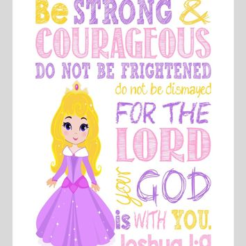 Aurora Christian Princess Nursery Decor Print, Be Strong & Courageous Joshua 1:9 Bible Verse