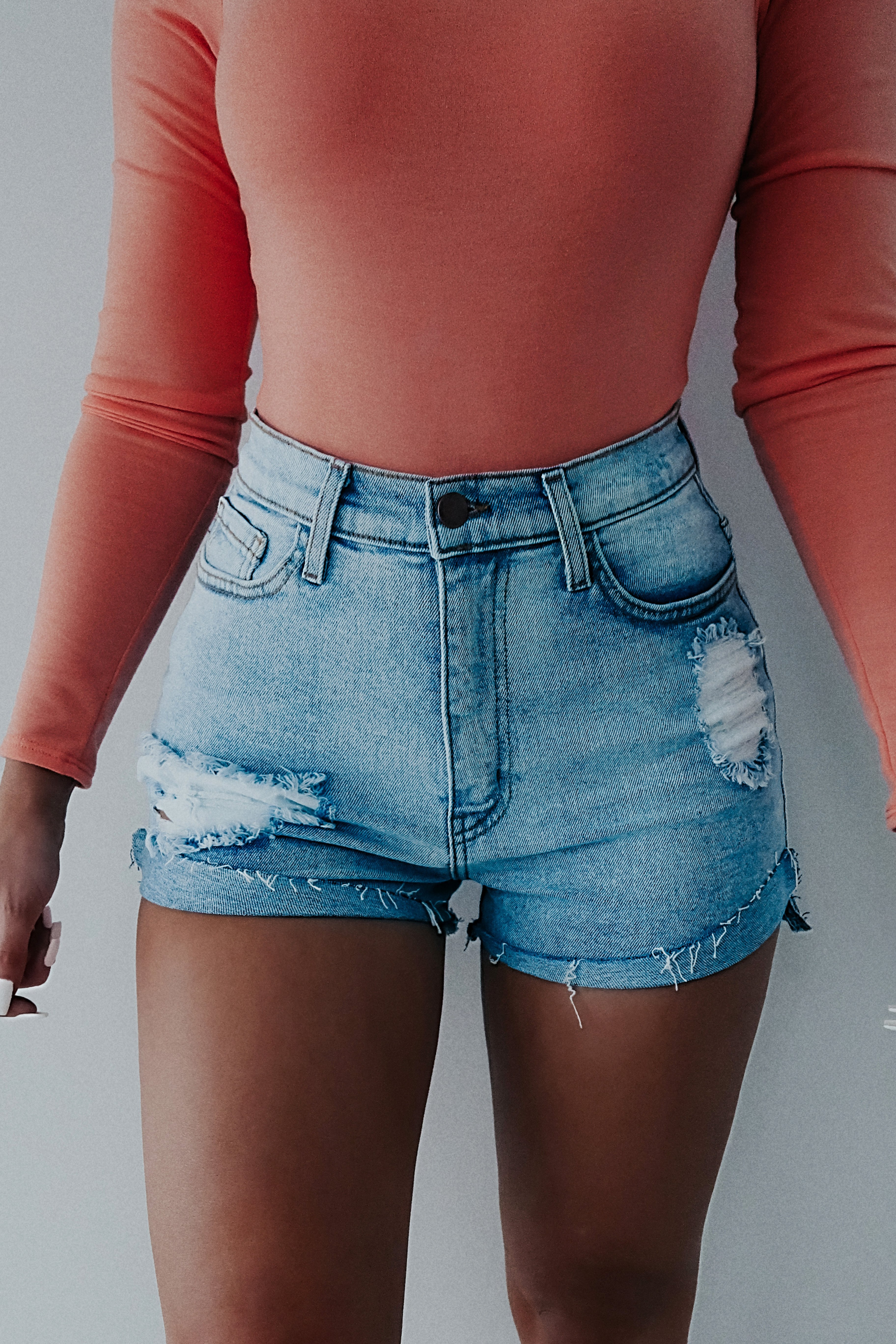 Image of REORDER: On Your Time Shorts: Denim