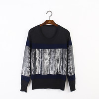 Indie Designs Helmut Lang Inspired Sequin Fragment Knit Sweater