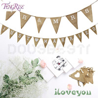 FENGRISE Just Married Mr Mrs Jute Burlap Bunting Rustic Wedding Banner Garland Party Flags Decoration Photo Props Event Supplies
