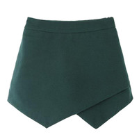Green High Waist Asymetric Hem Woolen Skorts - Choies.com