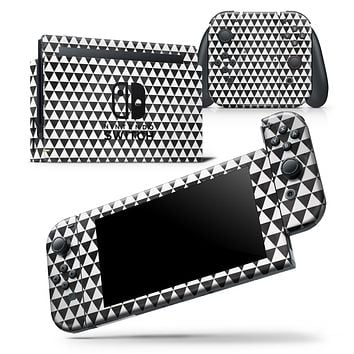 Black and White Watercolor Triangle Pattern - Skin Wrap Decal for Nintendo Switch Lite Console & Dock - 3DS XL - 2DS - Pro - DSi - Wii - Joy-Con Gaming Controller