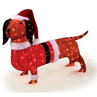 40 in. Tinsel Lighted Dachshund in Santa Suit and Hat-TY307-1314-1 at The Home Depot