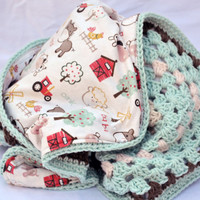 On the farm crochet baby blanket, granny square reversible crochet baby blanket