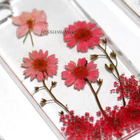 unique iphone 5s case iphone 4 case iphone 4s case designer iphone 5 case - pink glitter - REd Rose Pressed Dried Real Flowers Resin Clear