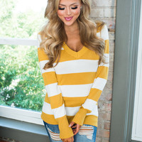Perfect for Fall Striped Sweater Mustard