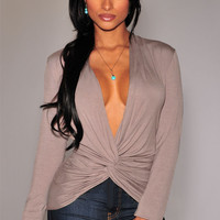 Long Sleeve Deep V-neck Knotted Front Bodycon Top