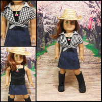 """American Girl Doll Clothes Western Outfit Denim Skirt 3 PC Black White Checks """"Country Girl"""""""