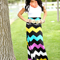 Chevron Darkness Maxi Skirt