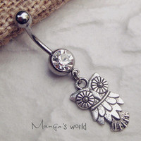 Owl Belly Button Ring, Owl Navel Jewelry, Animal Belly Button Jewelry, Gift for Girlfriend