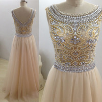 Real Sample NEW Saudi Arabia Luxury Beaing Crystal Champagne A-line Scoop Tulle Prom Dress 2016 Evening dresses Prom Gown wjt