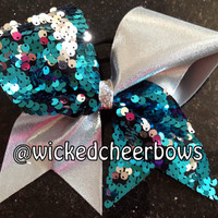 Tick Tock Cheer Bow - Silver Mystique & Turquoise and Silver Reversible Sequins