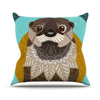 """Art Love Passion """"Otter in Water"""" Blue Brown Throw Pillow"""