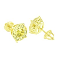 Canary Solitaire Earrings Round Shape Studs Simulated Diamonds Screw On