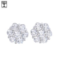 Jewelry Kay style Men's Iced Out Silver Plated Micro Pave Hexagon CZ Screw Back Earrings SHS 613 S