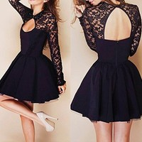 2014 Fashion Halter Stitching Lace Dress