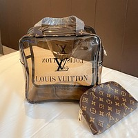 LV new transparent jelly bag shoulder bag messenger bag two-piece set