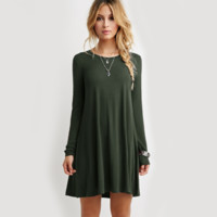 Simple Unique Long Sleeve Army Green Dress
